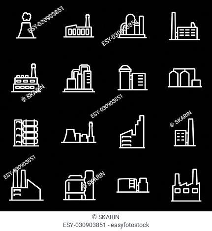 Vector line factory icon set. Factory Icon Object, Factory Icon Picture, Factory Icon Image - stock vector