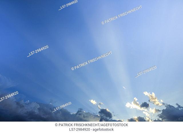 Blue sky and sun rays