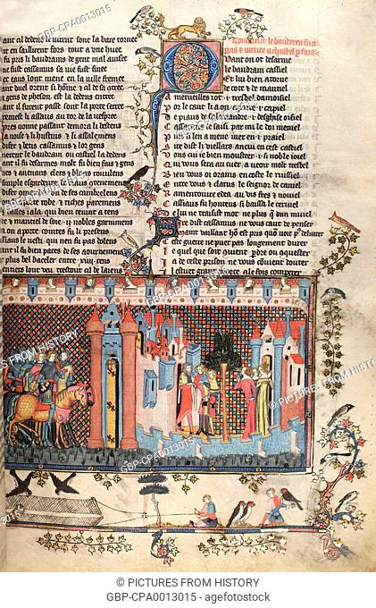 Greece / Netherlands: Illuminated page from a medieval version of Pseudo-Callisthenes, 'The Romance of Alexander' (Greece, c
