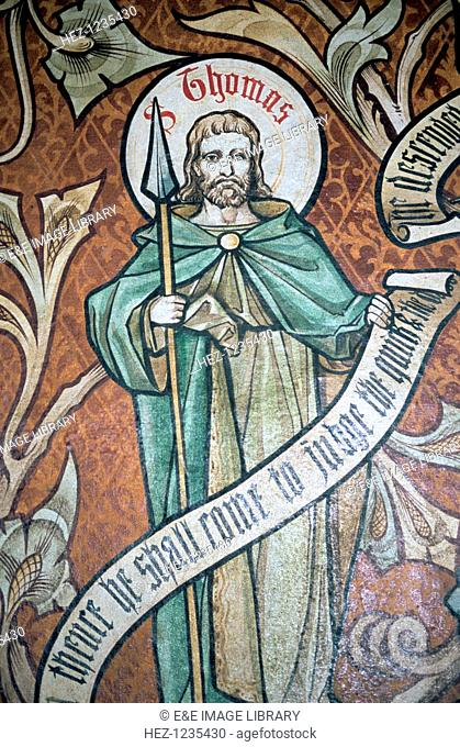 'St Thomas', St Nicholas' Church, Little Braxted, Essex, c1885. Detail of a wall painting by the Reverend Ernest Geldart (1848-1929), rector of Little Braxted
