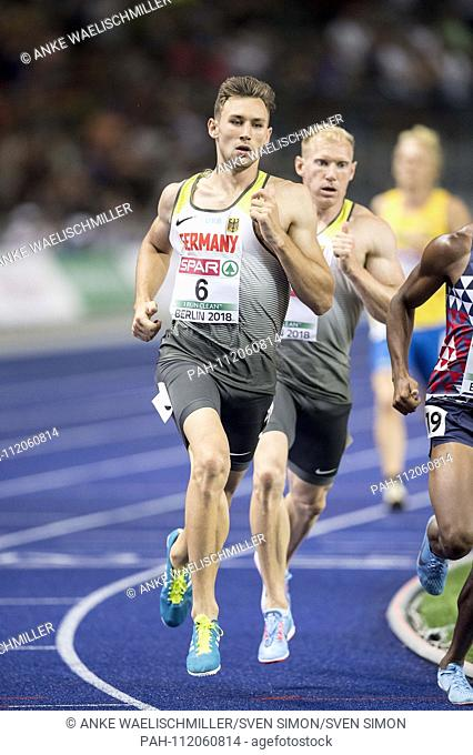 Niklas KAUL, Germany, 4th place, ahead of winner Arthur ABELE (1st place / Germany), action. Decathlon 1500m, on 08.08.2018 European Athletics Championships...