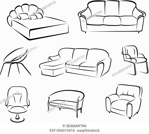 Furniture set isolated on white background for house interior design