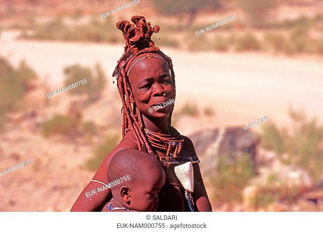 Woman with Himba child, Kaokoland, Namibia