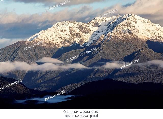 Snowcapped mountains in remote landscape, Te Anau, Southland, New Zealand