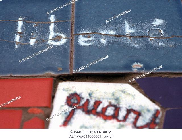 'Liberty', in french written on tiles, close-up