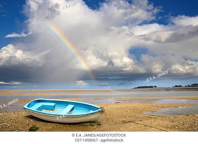 Wells Beach Norfolk UK Boat and Rainbow