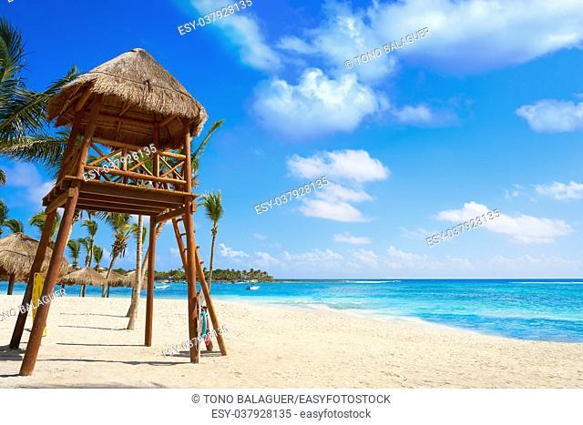 Akumal beach baywatck tower Caribbean in Riviera Maya of Mayan Mexico