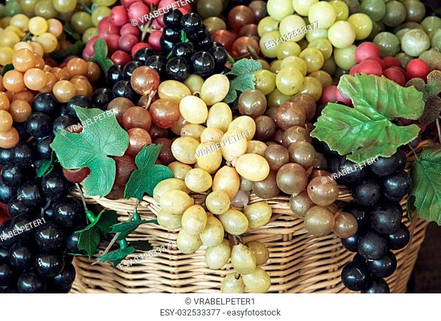 Mix of various grapes in wicker baskets
