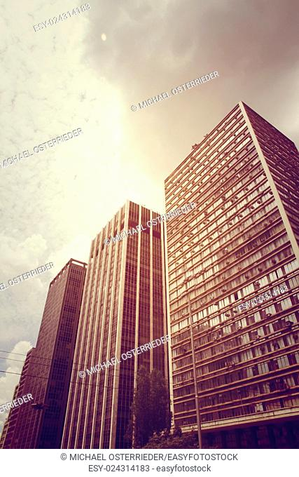 Retro style image of Buildings in Downtown Sao Paulo, Brazil