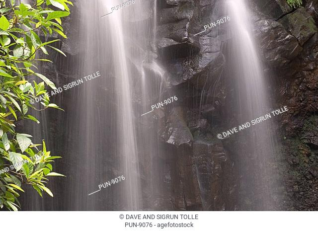 Detail of falling water at Zillie falls, Atherton Tablelands
