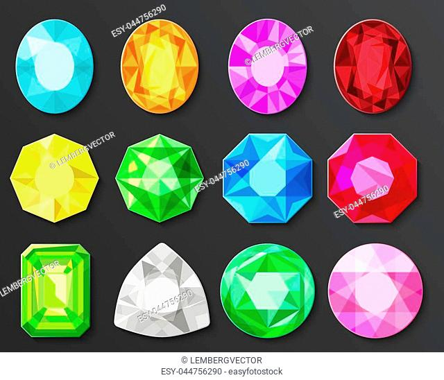 Vector Colored gems diamonds set isolated on black