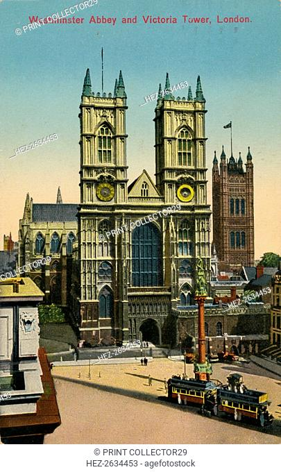 'Westminster Abbey and Victoria Tower, London', c1930. Artist: Unknown