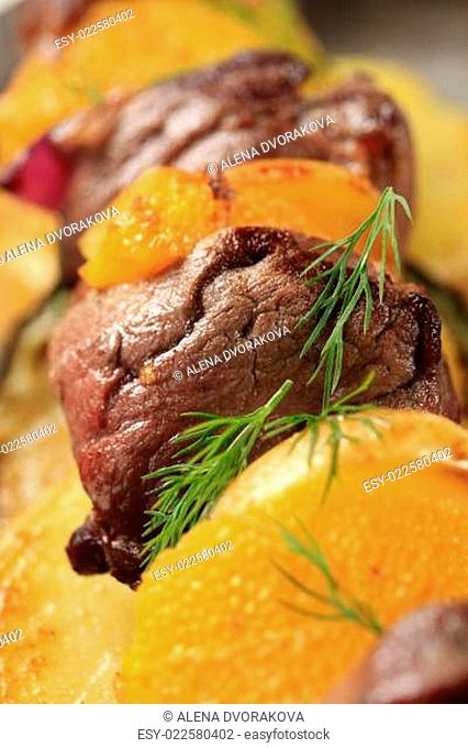 Shish kebab with oranges