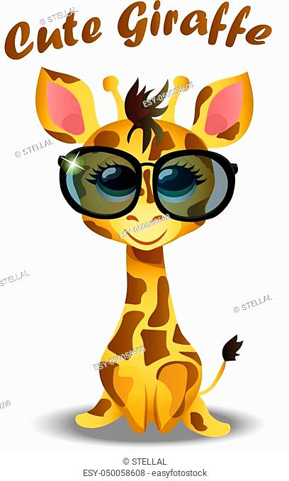 Very high quality original trendy vector illustration of cute giraffe baby or calf with glasses
