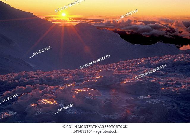 Sunset on The Dome Mt Ruapehu Tongariro National Park New Zealand