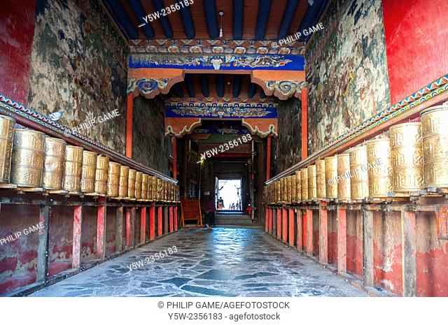 Hall of prayer wheels in the monastic town of Sakya (1268 AD), Tibet