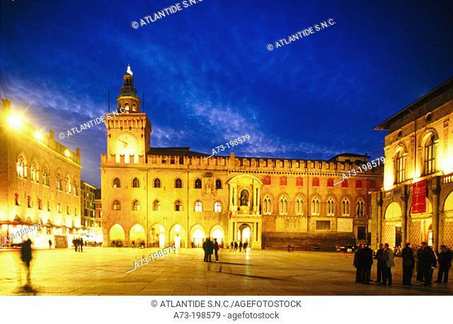 Palazzo Comunale (Town Hall) at Piazza Maggiore (Main Square). Bologna. Italy