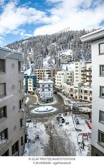 Town centre of the ski resort St. Moritz in Winter, Grisons, Switzerland