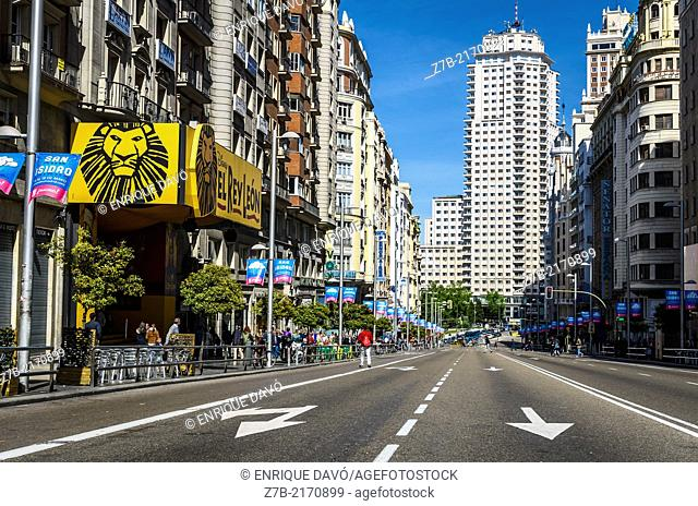 View of the Gran Via of Madrid city, Spain