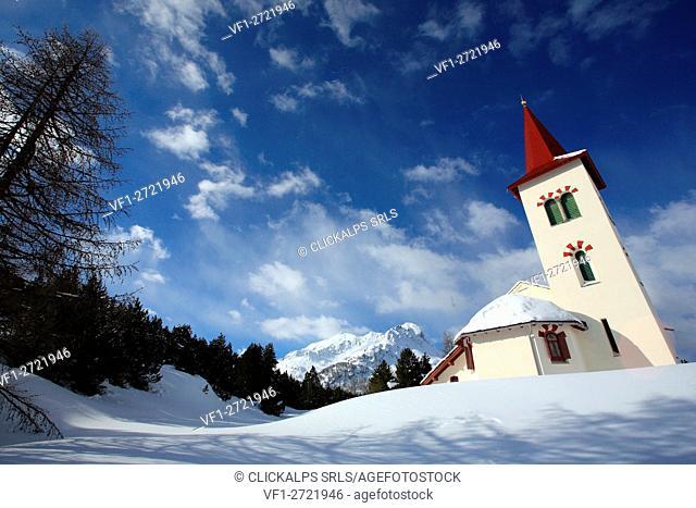 White church at Maloja pass. Canton of Graubünden Engadine Switzerland Europe
