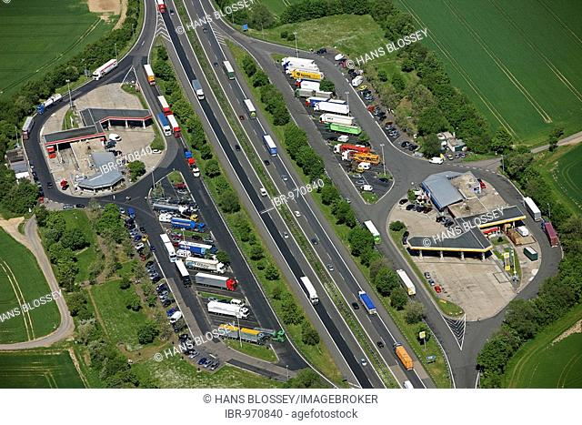 Aerial picture, Peppenhoven motorway restaurant on the motorway A61 between Swifttal and Rheinbach, North Rhine-Westphalia, Germany, Europe