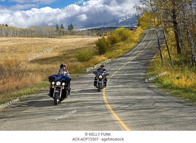 Motorcyclists ride the road to Pinantan lake, near Kamloops, in the Thompson Okanagan region of British Columbia, Canada