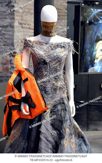 Creations of high fashion inspired by water, dress by Guillermo Mariotto for Gattinoni Maison , Rome, ITALY-03-05-2016