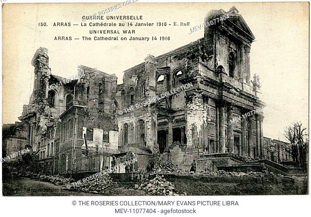Arras, France -- damage to the Cathedral during WW1, photographed on 14 January 1916
