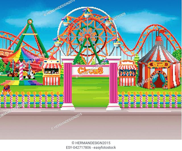 illustration of Amusement park scene at daytime with many rides