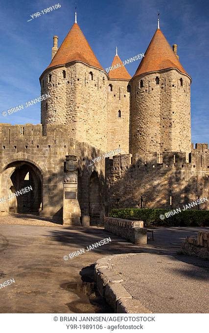 Back entrance to La Cite Carcassonne, Languedoc-Roussillon, France