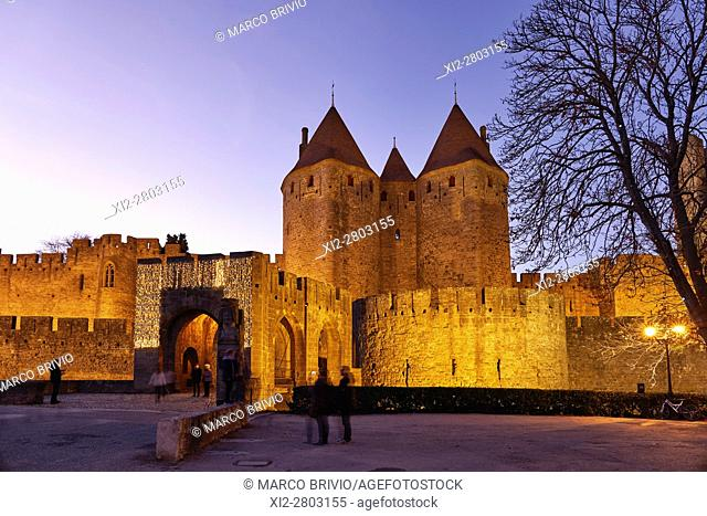 Historic Fortified City of Carcassonne France. The Narbonne Gate. The Cite' de Carcassonne is a medieval citadel located in the French city of Carcassonne