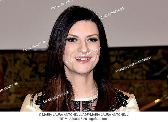 The singer Laura Pausini during the photocall presentation of the TV Show Laura e Paola. TV studios RAI. Rome. Italy. 30/03/2016