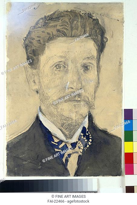 Self-Portrait. Vrubel, Mikhail Alexandrovich (1856-1910). Watercolour and white colour on paper. Symbolism. 1904-1905. Russia