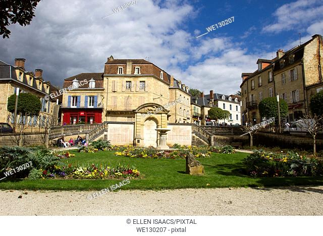 Monument honoring the heroes and martyrs who died during World War II in a lovely park in Sarlat, Dordogne region of France