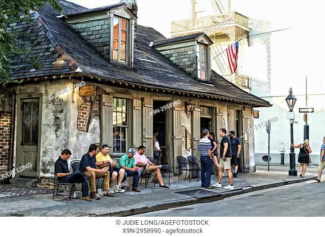 New Orleans, LA, French Quarter. Lafittes Blackmiyh Shop Bar, the Oldest one in New Orleans. People Congragating Outside. EDITORIAL USE ONLY