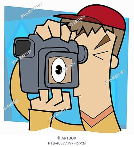 Close-up of a man using a video camera