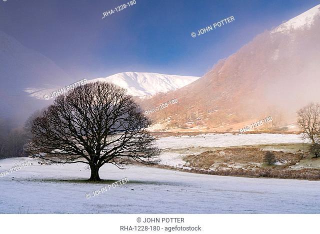 Snow and mist at Glencoyne, Ullswater, Lake District National Park, UNESCO World Heritage Site, Cumbria, England, United Kingdom, Europe