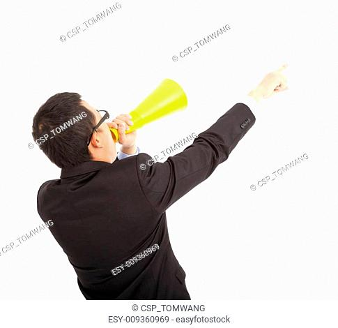 businessman forward pointing with cheering megaphone