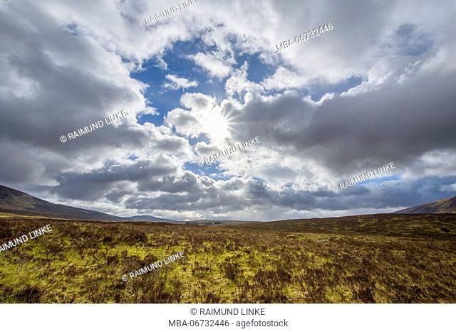 Moor landscape with cloudy sky, Rannoch Moor, Scotland, United Kingdom