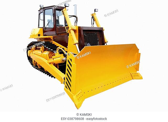 Modern crawler bulldozer isolated on white background