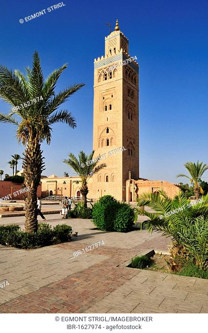 Minaret of Koutoubia, Kutubiya Mosque in the Medina of Marrakesh, Unesco World Heritage Site, Morocco, North Africa