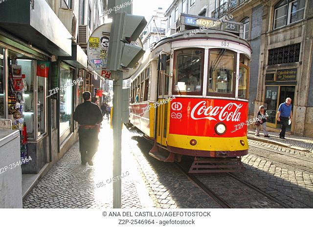 Vintage tram in the city center of Lisbon on October 8, 2015