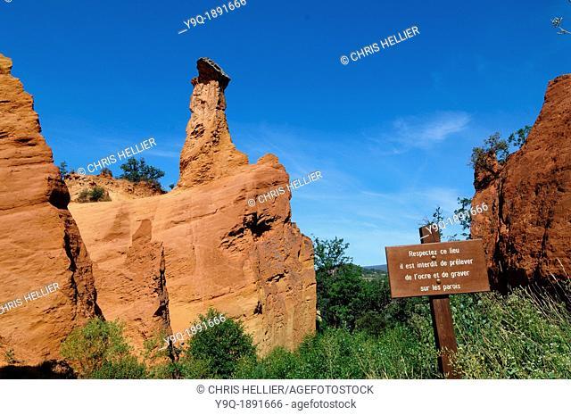 Ochre Landscape and Forbidden Sign near Rustrel Colorado en Provence Luberon Provence France