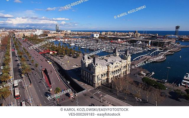 View of the Port Vell in Barcelona, Catalonia, Spain