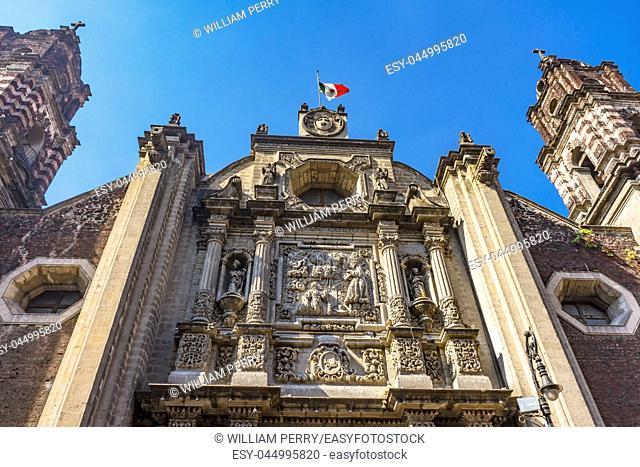 Templo de San Felipe Neri Basilica Facade Church Mexico City Mexico. Catholic church created in 1500s by Jesuits
