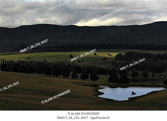 Panoramic view of a landscape, South Drakensberg Mountain, Kwazulu-Natal, South Africa