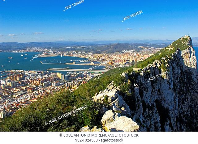 Top Of The Rock. Across Gibraltar To Spain. Gibraltar. UK
