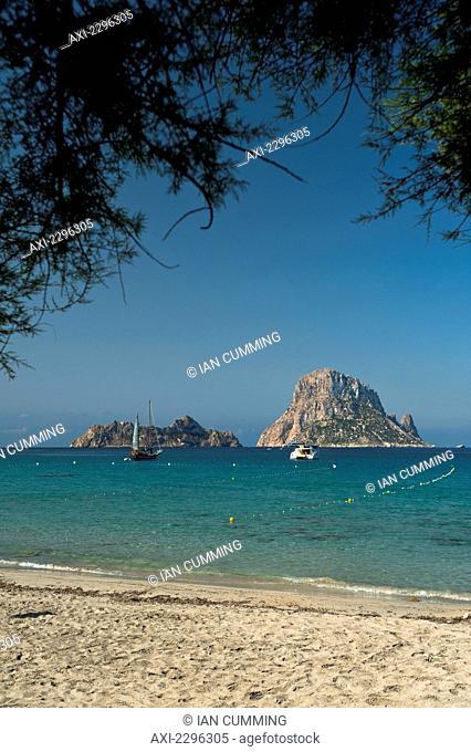 Cala D'Hort beach with Es Vedra Island behind; Ibiza, Spain