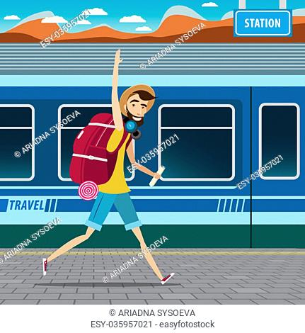European tourism concept, smiling backpacker walking at the railway station and waving