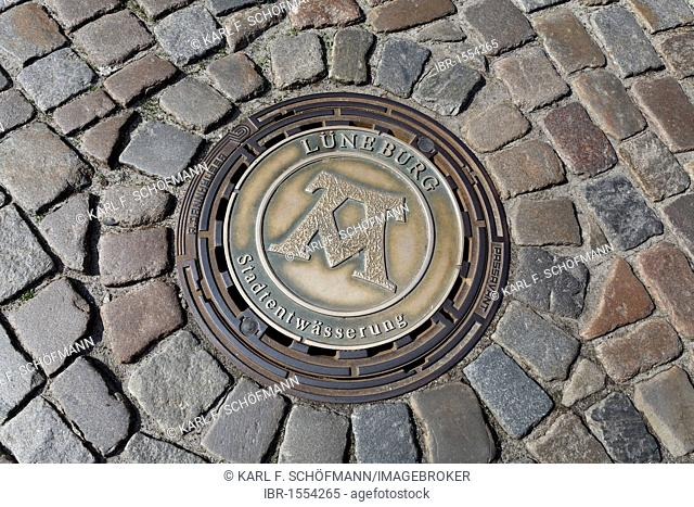 Manhole cover of the municipal water treatment works, old pavement, Lower Saxony, Germany, Europe